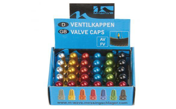 Колпачки для ниппеля M-WAVE  универсальные - для авто- и спортниппеля, 6 видов цвета в ассортименте, 30шт в коробке…