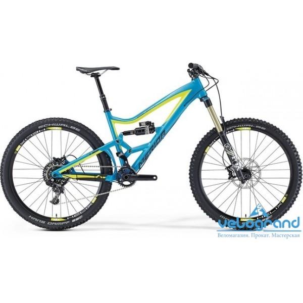 Велосипед двухподвес Merida ONE-SIXTY 7. 900 (2016), Цвет Сине-Желтый, Размер 17
