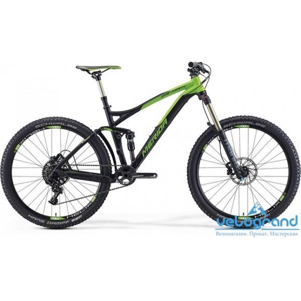 Велосипед двухподвес Merida ONE-FORTY 7. 600 (2016), Цвет Черно-Зеленый, Размер 17