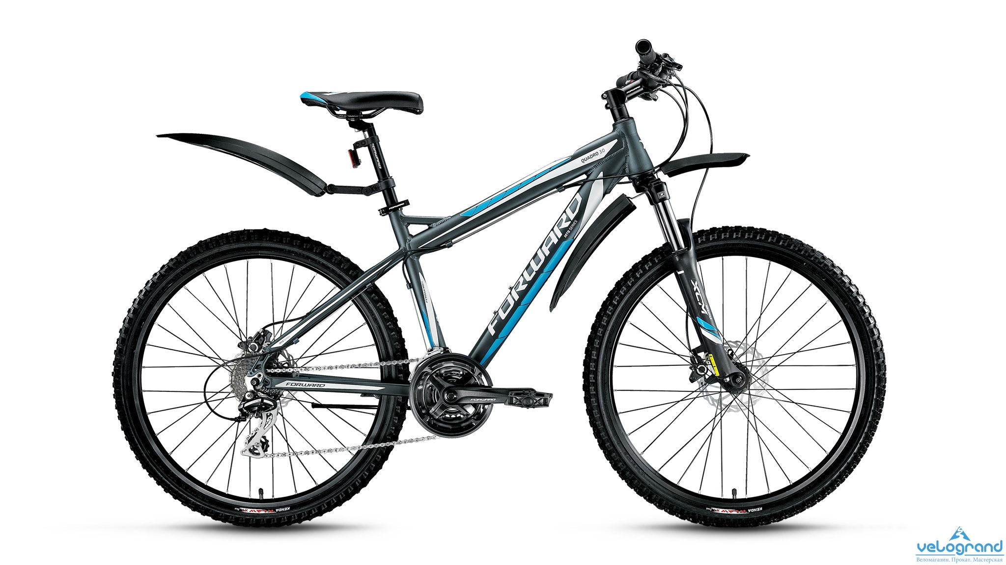 Горный велосипед Forward Quadro 3.0 disc (2016), Цвет Серый, Размер 17