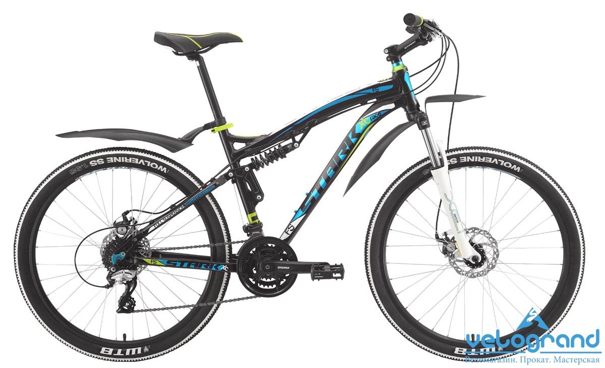 Велосипед двухподвес Stark Stinger Disc (2015), Цвет Черно-Голубой, Размер 20