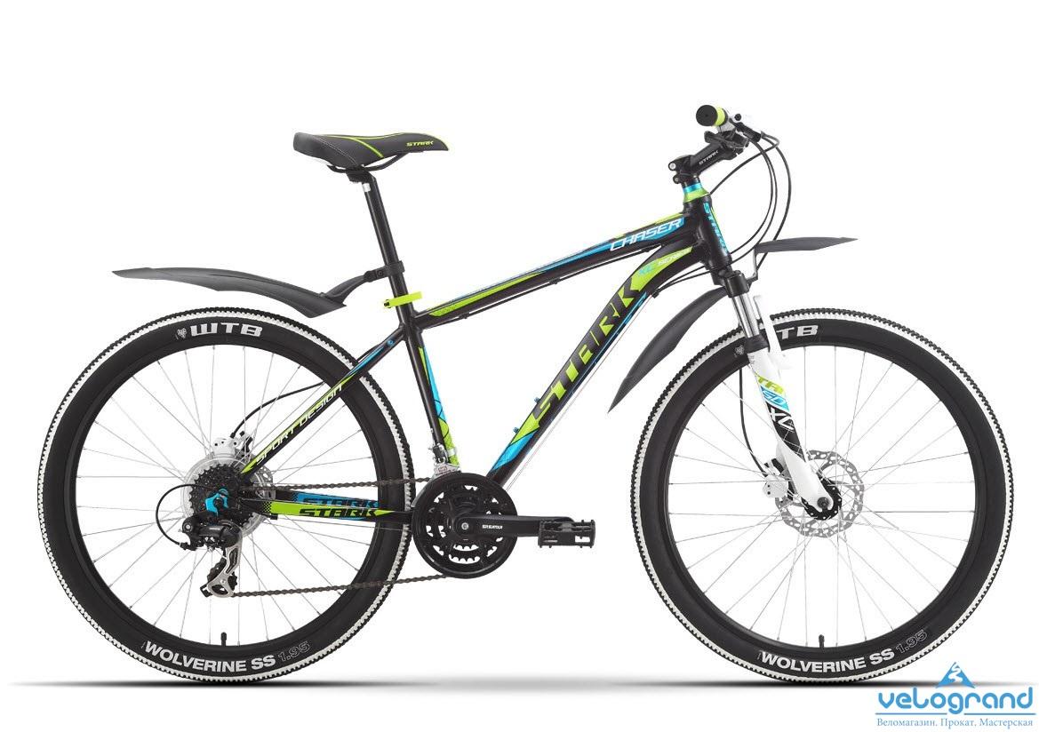 Горный велосипед Stark Chaser HD (2016), Цвет Черно-Зеленый, Размер 16