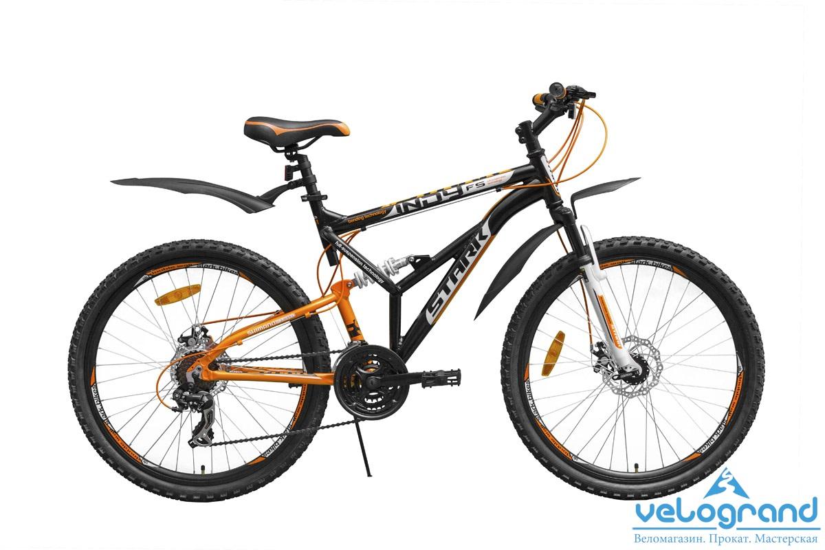 Велосипед двухподвес Stark Indy FS Disc (2015), Цвет Оранжево-Белый, Размер 19