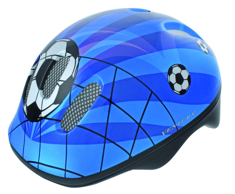 Шлем детский р-р 50-57см Ventura6 отверстий, высокопрочный пластик, с защитной сеточкой, регулируемый, сине-бело-черный (дизайн SOCCER), инд. уп.<br>