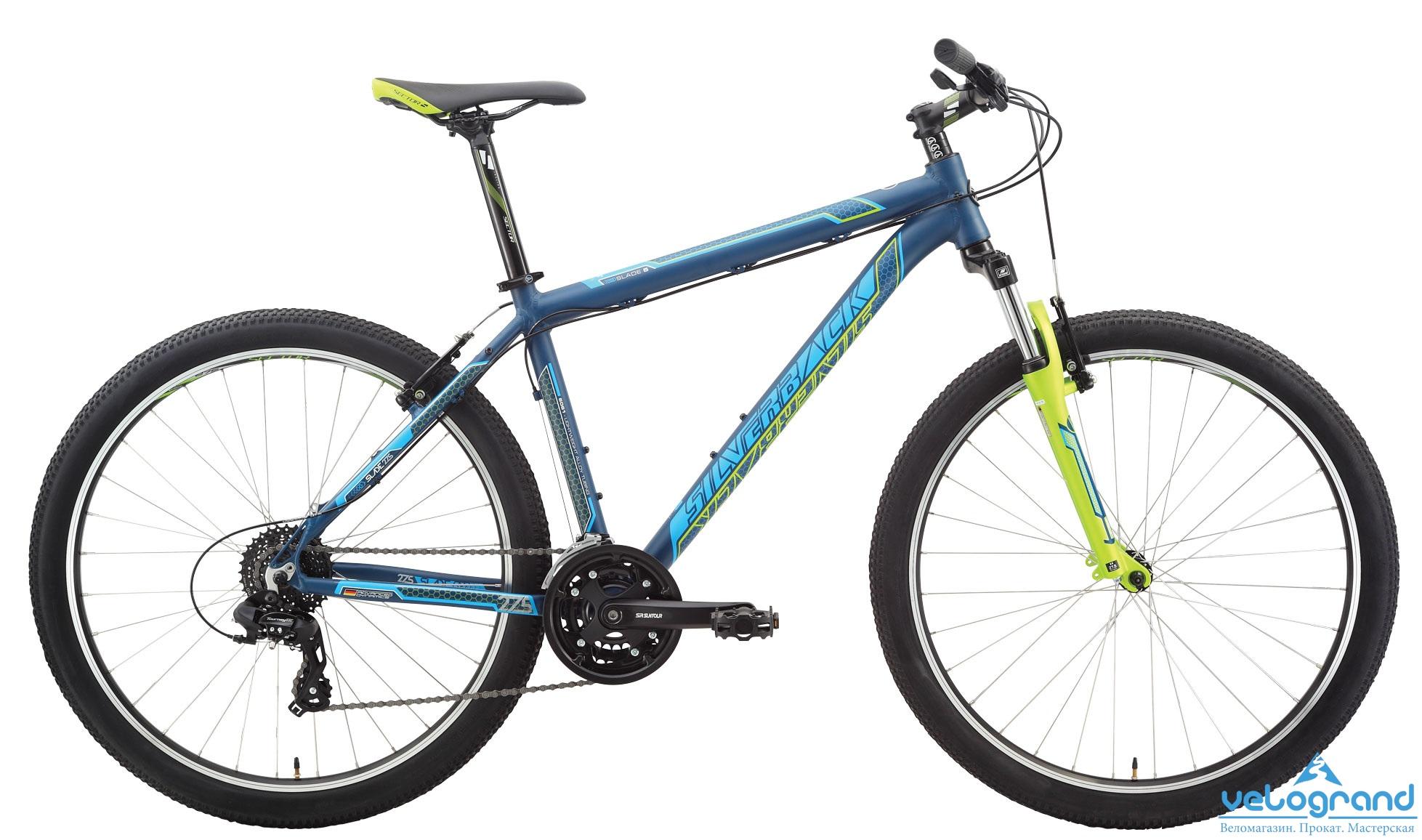 """Горный велосипед Silverback Slade 5 (2015), Цвет Сине-Зеленый, Размер 18&amp;nbsp;<br><br>&amp;nbsp; Рама 27.5"""" Trail, формованные трубы, алюминий 6061, рулевая труба 1 1/8"""", дропауты 135 мм QR, V-Brake, крепления багажника и крыльев, съемный петух<br><br>Модельный год: 2015<br>Материал рамы: Алюминий<br>Диаметр колес: 27.5 дюймов<br>Количество скоростей: 24 скорости<br>Возраст: Взрослый<br>Тип тормозов: Ободные<br>Цвет: Сине-Зеленый<br>Размер INCH: 18"""