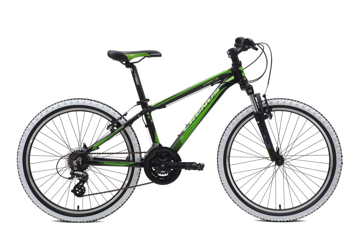 Подростковый велосипед Cronus CARTER 24 (2016)Модель Cronus Carter рассчитана на детей в возрасте от 8 до 12 лет.<br><br>Вы хотите приобрести ребёнку особенный велосипед, который будет не только эффектно выглядеть, но и впечатлять техническими характеристиками Именно для вас инженеры Cronus разработали модель Carte. Он создан для удовольствия, но не спасует и в гонках: вилка Suntour XCT, тормоза Promax TX v-brake, задний переключатель Shimano Altus и алюминиевые ободья с двойными стенками.<br><br>&amp;nbsp;<br><br>Cronus Carte – это подростковый велосипед без компромиссов!<br><br><br><br><br>Рама и амортизаторы<br><br><br><br>Рама<br>Алюминий, 13<br><br><br><br>Вилка<br>SR Suntour SF16-XCT-JR, 50 мм.<br><br><br>Цепная передача<br><br><br><br>Манетки<br>Shimano ST-EF51, 7 скоростей<br><br><br><br>Передний переключатель<br>Shimano FD-TX50, Tourney, 3 скорости<br><br><br><br>Задний переключатель<br>Shimano RD-M310, Altus, 7 скоростей<br><br><br><br>Шатуны<br>LASCO 3CF5842SP, 24/34/42T, шатуны: 152 мм.<br><br><br><br>Каретка<br>NECO B910, картриджного типа<br><br><br><br>Кассета<br>Shimano MF-TZ21<br><br><br><br>Количество скоростей<br>21<br><br><br><br>Цепь<br>KMC Z51<br><br><br><br>Педали<br>WELLGO LU-984, пластик<br><br><br>Колеса<br><br><br><br>Обода<br>DINO DH-18, алюминий, двойной обод<br><br><br><br>Bтулка<br>KT-A15, алюминий<br><br><br><br>Покрышка<br>Kenda K831A, 24X1.95<br><br><br>Компоненты<br><br><br><br>Передний тормоз<br>Promax TX-107, ALLOY V BRAKE<br><br><br><br>Задний тормоз<br>Promax TX-107, ALLOY V BRAKE<br><br><br><br><br><br>Грипсы<br>XH-G56B, резина<br><br><br><br>Руль<br>Zoom MTB-AL-153TP, алюминий, ширина: 620 мм.<br><br><br><br>Вынос<br>Zoom TDS-C41-8, длина: 75 мм.<br><br><br><br>Рулевая колонка<br>VP-A42E, полуинтегрированная<br><br><br><br>Седло<br>CRONUS Junior<br><br><br><br>Подседельный штырь<br>Zoom SP-C208, диаметр: 31.6<br><br><br>&amp;nbsp;<br>Производство<br>Разработка: Франция. Производство: КНР (Тайвань).<br><br>Модельный год: 2016<