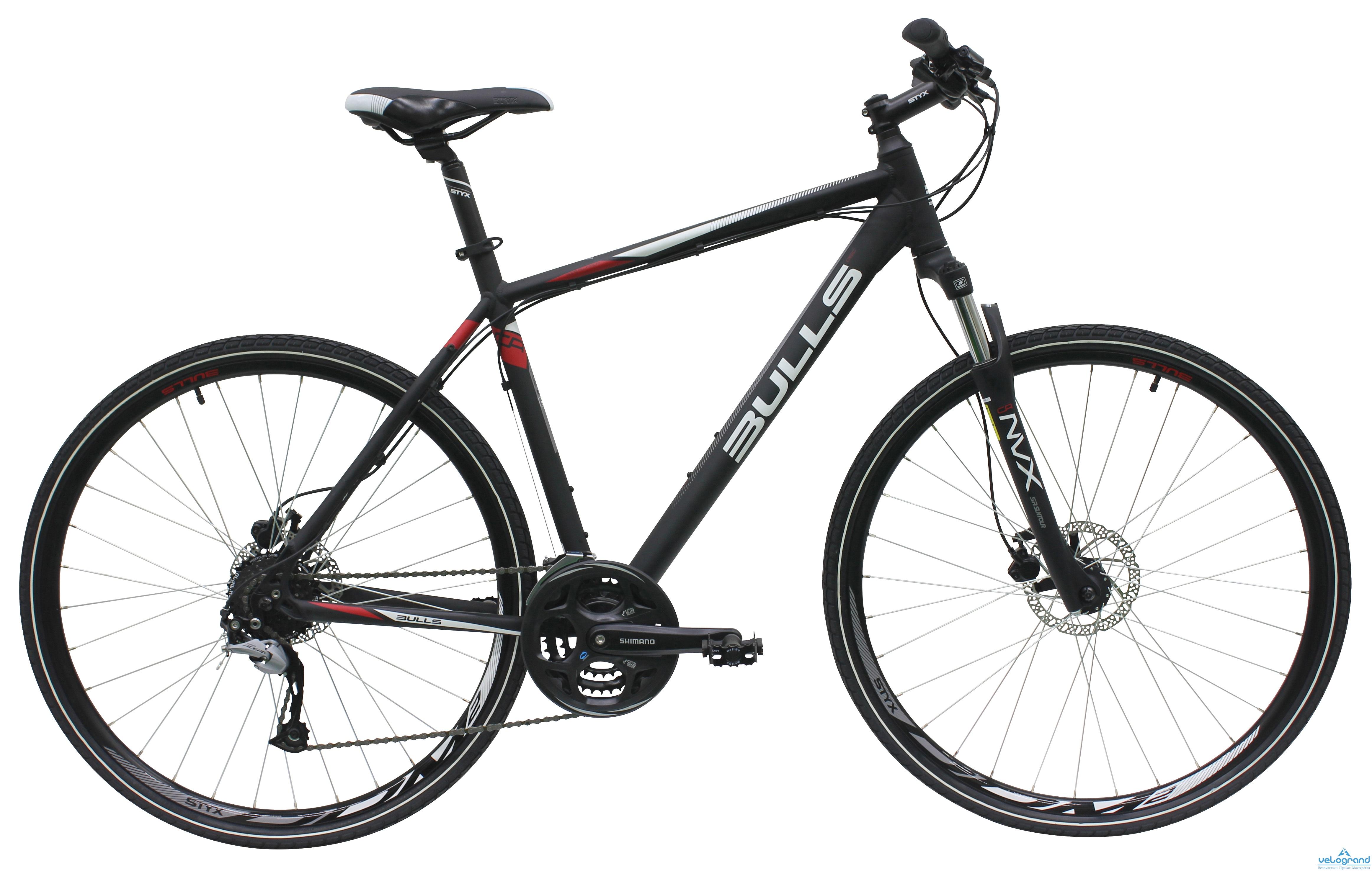 Городской велосипед Bulls Cross Bike 1 (2016)Рама и амортизаторы<br><br><br>&amp;nbsp;<br>Рама<br>7005 aluminium<br><br><br>&amp;nbsp;<br>Вилка<br>Suntour NVX-D, 75 mm einstellbar<br><br><br>&amp;nbsp;<br>Вес всего велосипеда<br>13.9 кг<br><br><br>Цепная передача<br><br><br>&amp;nbsp;<br>Манетки<br>Shimano<br><br><br>&amp;nbsp;<br>Передний переключатель<br>Shimano<br><br><br>&amp;nbsp;<br>Задний переключатель<br>Shimano Altus 24-speed<br><br><br>&amp;nbsp;<br>Кассета<br>Shimano, 11-32T<br><br><br>&amp;nbsp;<br>Количество скоростей<br>24<br><br><br>&amp;nbsp;<br>Педали<br>Wellgo<br><br><br>Колеса<br><br><br>&amp;nbsp;<br>Обода<br>STYX DBM-1<br><br><br>&amp;nbsp;<br>Bтулка<br>Formula<br><br><br>&amp;nbsp;<br>Покрышка<br>VEE Rubber VRB346, 44-622<br><br><br>Компоненты<br><br><br>&amp;nbsp;<br>Передний тормоз<br>Tektro V-Brake<br><br><br>&amp;nbsp;<br>Задний тормоз<br>Tektro V-Brake<br><br><br><br><br>&amp;nbsp;<br>Руль<br>STYX aluminium<br><br><br>&amp;nbsp;<br>Рулевая колонка<br>STYX aluminium<br><br><br>&amp;nbsp;<br>Седло<br>Velo, STYX design<br><br><br>&amp;nbsp;<br>Подседельный штырь<br>STYX aluminium<br><br><br>&amp;nbsp;<br>Производство<br>Разработка: Германия. Производство: КНР (Тайвань).<br><br>Модельный год: 2016<br>Производитель: Bulls<br>Материал рамы: Алюминий<br>Диаметр колес: 28 дюймов<br>Количество скоростей: 24 скорости<br>Возраст: Взрослый<br>Тип тормозов: Дисковые гидравлические<br>Страна: Германия