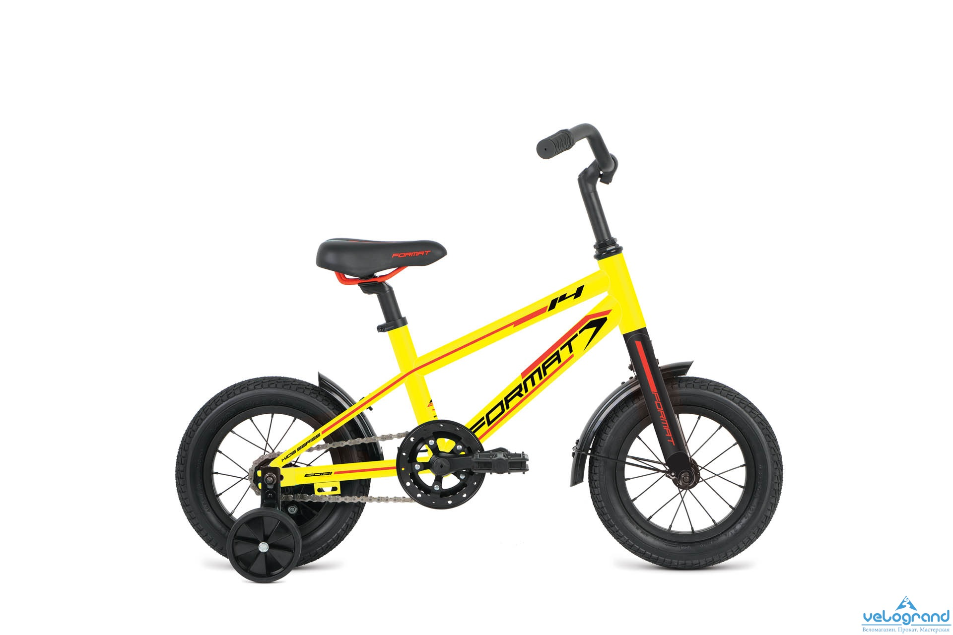 Детский велосипед Format Boy 14 (2016)Модельный год<br>2016<br><br><br>Пол<br>Мужской / женский<br><br><br>Возрастная группа<br>Для детей<br><br><br>Вес<br>7.6 кг.<br><br><br><br><br><br><br><br>Рама<br> <br><br><br><br>Материал рамы<br>Алюминий<br><br><br><br>Рама<br>14, Children, 6061<br><br><br><br>Ростовка рамы<br>one size<br><br><br><br><br><br><br><br>Амортизация<br> <br><br><br><br>Тип амортизации<br>Жесткая вилка<br><br><br><br>Вилка<br>Al 6061<br><br><br><br><br><br><br><br>Управление<br> <br><br><br><br>Седло<br>Format VL-5020, steel rails<br><br><br><br>Подседельный штырь<br>Format SP-C208, 27.2mm<br><br><br><br>Рулевая колонка<br>Neco, external cup threaded headset, 25.4x34x30<br><br><br><br>Вынос руля<br>Format HA-C40-5, 30&amp;infin;, diameter: 25.4mm<br><br><br><br>Руль<br>Format HB-102-1, raise bar, width: 480mm, backsweep: 26&amp;infin;, rise: 60mm, diameter: 25.4mm<br><br><br><br><br><br><br><br>Тормозная система<br> <br><br><br><br>Тормоза<br>coaster brake<br><br><br><br><br><br><br><br>Трансмиссия<br> <br><br><br><br>Количество скоростей<br>1x1<br><br><br><br>Каретка<br>Neco B910<br><br><br><br>Система шатунов<br>Samox, 102L, 28T<br><br><br><br>Трещотка / Кассета<br>16T<br><br><br><br>Цепь<br>KMC Z410<br><br><br><br><br><br><br><br>Колеса<br> <br><br><br><br>Втулка передняя<br>Wheelset<br><br><br><br>Втулка задняя<br>Wheelset<br><br><br><br>Материал ободов<br>Aluminium<br><br><br><br>Обода<br>Wheelset<br><br><br><br>Покрышки<br>Kenda K-841 14x2.25<br><br><br><br><br><br><br><br>Дополнительно<br> <br><br><br><br>Педали<br>Plastic<br><br><br><br>Крылья<br>Steel<br><br>Модельный год: 2016<br>Производитель: Format<br>Материал рамы: Алюминий<br>Диаметр колес: 14 дюймов<br>Количество скоростей: 1 скорость<br>Возраст: От 3 до 5 лет<br>Тип тормозов: Ножной<br>Страна: Россия<br>Количество колес: 4 колеса<br>Наличие ручки: без ручки