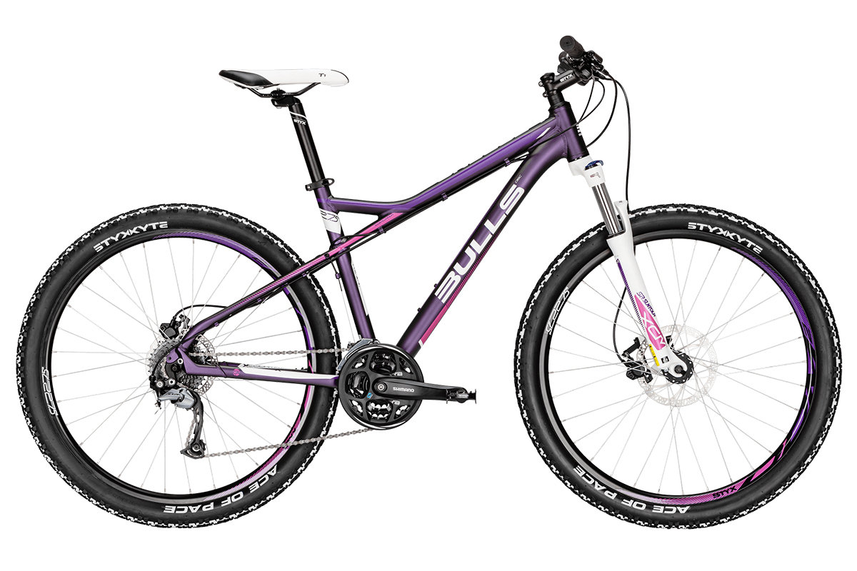 Женский велосипед Bulls Zarena 27,5 (2016), Цвет Фиолетовый, Размер 16Рама и амортизаторы<br><br><br><br>Рама<br>7005 aluminium<br><br><br><br>Вилка<br>Suntour XCM-DS HLO, 100 mm<br><br><br>Цепная передача<br><br><br><br>Манетки<br>Shimano Altus SL-M310<br><br><br><br>Передний переключатель<br>Shimano Altus FD-M310<br><br><br><br>Задний переключатель<br>Shimano Acera RD-M3000 SGS, 8-speed<br><br><br><br>Шатуны<br>Shimano FC-M311C, 42/32/22T<br><br><br><br>Кассета<br>Shimano, 12-32T<br><br><br><br>Педали<br>Wellgo<br><br><br>Колеса<br><br><br><br>Обода<br>STYX DDM-2<br><br><br><br>Bтулка<br>Formula<br><br><br><br>Покрышка<br>STYX Ace of Pace 27,5 x 2.25<br><br><br>Компоненты<br><br><br><br>Передний тормоз<br>Tektro HD-M291 hydraulic disc, 180/160 mm<br><br><br><br>Задний тормоз<br>Tektro HD-M291 hydraulic disc, 180/160 mm<br><br><br><br><br><br>Руль<br>STYX aluminium<br><br><br><br>Вынос<br>STYX aluminium<br><br><br><br>Рулевая колонка<br>STYX aluminium<br><br><br><br>Седло<br>Selle Royal Seta M1 Lady STYX design<br><br>Модельный год: 2016<br>Материал рамы: Алюминий<br>Диаметр колес: 27.5 дюймов<br>Количество скоростей: 24 скорости<br>Возраст: Взрослый<br>Тип тормозов: Дисковые гидравлические<br>Цвет: Фиолетовый<br>Размер INCH: 16