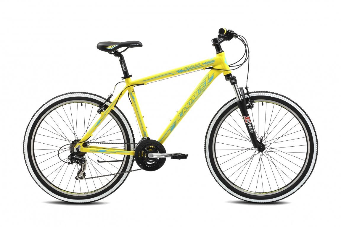 Горный велосипед Cronus COUPE 0.5 26 (2016), Цвет Желтый, Размер 21Если вы планируете купить свой первый велосипед, начать экономить время и деньги, не определились со стилем катания или просто хотите, потратив небольшую сумму, почувствовать свежий ветер, скорость и безграничную свободу, то рекомендуем обратить внимание на модели из серии Cronus Coupe.<br><br>&amp;nbsp;<br><br>Ключевые особенности Coupe 0.5:<br><br>- надёжная и лёгкая алюминиевая рама (техноформинг);<br><br>- полуинтегрированная рулевая;<br><br>- трансмиссия Shimano (21 скоростей);<br><br>- алюминиевые ободья с двойными стенками;<br><br>- вилка от Suntour.<br><br>&amp;nbsp;<br><br>Cronus Coupe – это лучший повод выйти из дома и начать кататься!<br><br><br><br><br>Рама и амортизаторы<br><br><br><br>Рама<br>Алюминий, 17.5 / 19 / 21<br><br><br><br>Вилка<br>SR Suntour M3030, 75 мм.<br><br><br>Цепная передача<br><br><br><br>Манетки<br>Shimano ST-EF41, 7 скоростей<br><br><br><br>Передний переключатель<br>Shimano FD-TX50, Tourney, 3 скорости<br><br><br><br>Задний переключатель<br>Shimano RD-TX35D, Tourney, 7 скоростей<br><br><br><br>Шатуны<br>Lasco 3S1142SP, 24/34/42T, шатуны: 170 мм.<br><br><br><br>Каретка<br>NECO B910, картриджного типа<br><br><br><br>Кассета<br>Shimano MF-TZ21<br><br><br><br>Количество скоростей<br>21<br><br><br><br>Цепь<br>KMC C50<br><br><br><br>Педали<br>NECO WP401, пластик<br><br><br>Колеса<br><br><br><br>Обода<br>DINO DH-18, алюминий, двойной обод<br><br><br><br>Bтулка<br>KT-122FQR<br><br><br><br>Покрышка<br>WANDA 2003, 26X2.1<br><br><br>Компоненты<br><br><br><br>Передний тормоз<br>ALLOY V-BRAKE<br><br><br><br>Задний тормоз<br>ALLOY V-BRAKE<br><br><br><br><br><br>Грипсы<br>XH-G56B<br><br><br><br>Руль<br>Zoom MTB-153TP, сталь, ширина: 640 мм.<br><br><br><br>Вынос<br>Zoom TDS-C340-8, длина 75 мм.<br><br><br><br>Рулевая колонка<br>NECO H115M-1, полуинтегрированная<br><br><br><br>Седло<br>CRONUS Comfort<br><br><br><br>Подседельный штырь<br>Zoom SP-C208, диаметр: ?31.6, длина: 350 мм.<br