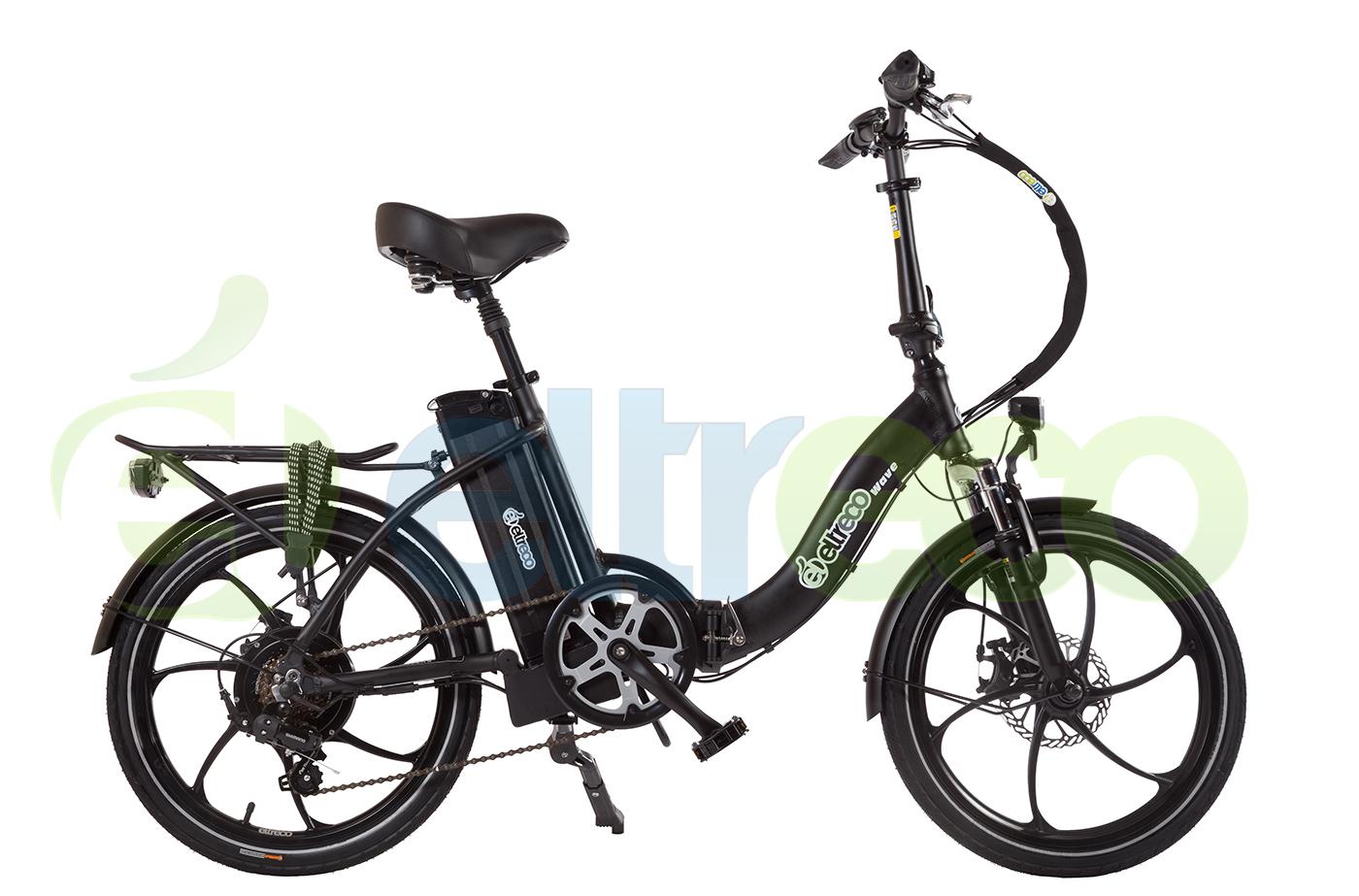 ELTRECO WAVE 500W NEWВелогибрид модели Wave 500W New – еще один складной велогибрид от компании Eltreco. С ним и по асфальту в городе, и по грунтовке на даче можно ощутить отличную динамику без усталости в ногах и без вибраций в кистях рук.<br><br>500-ваттный электромотор этого складного велогибрида обеспечивает прекрасный разгон с места. И если в городе это позволит полноправно чувствовать себя в транспортном потоке, то в деревне поможет скрыться от стаи собак, норовящих облаять и покусать велосипедиста. А еще с таким двигателем не придется до умопомрачения крутить педали в горку – электромотор возьмет эту задачу на себя.<br><br><br><br><br>Максимальная скорость: не менее 25 км/ч<br>Пробег: 45-60 км<br>Тормоза передние: дисковые механические тормоза Artek 160 мм<br>Тормоза задние: дисковые механические тормоза Artek 160 мм<br>Батарея: Li-ion Samsung 48V 11Ah<br>Двигатель: Bafang 48V 350W<br>Конструкция: складная<br>Вес: 27 кг<br>Максимальная нагрузка: 110 км<br>Управление: с помощью ручки газа<br>Колеса: 20'', литые диски<br><br><br>При взгляде на Eltreco Wave 500W New стоит заострить отдельное внимание на раме. Это усиленная конструкция из алюминиевого сплава 6061 с удобным механизмом складывания, который осилит даже ребенок. По своему размеру модель Wave отлично подойдет как для подростка, так и для взрослого райдера. Седло и руль легко регулируются по высоте, что позволяет «подгонять» электробайк под рост ребенка по мере его взросления. И нет сомнений, что с управлением этим велогибридом справятся даже дети! Ручка газа, синхронный режим с помощью пульта Pass Control или обычные педали – что в этом сложного?!<br><br>Велосипед с электромотором Eltreco Wave 500W New сам создан для того, чтобы возить на себе хозяина и грузы вместе с ним (общей массой до 110 кг).<br><br>Eltreco Wave 500W New – так просто оседлать волну удовольствия!<br><br>Модельный год: 2016<br>Производитель: Eltreco<br>Материал рамы: Алюминий<br>Диаметр колес: 20 дюймов<br>Количество скоростей: 6 с